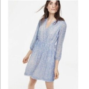 Boden Blue Silk Textured Silk Surplice Dress